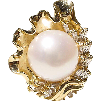 Sea-Shell Floral South Sea Pearl & Diamond Ring 18 KT Y-Gold - Fine Baguette Diamonds - Vintage 70's Set