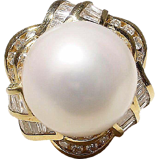 Magnificent South Sea Pearl Diamond Ring 18K Y-Gold Superb 15.5 MM - Vintage 60's
