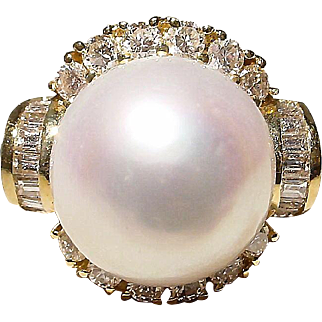 Finest South Sea Pearl Diamond Ring 18K Y-Gold - 16 MM Victorian Ornate Vintage 60's