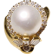 Extremely Elegant South Sea Pearl Diamond Ring 18 KT Y- Gold - Silver Gem Pearl Round 12 MM - Vintage 1970's