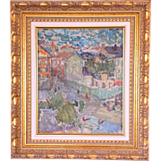 Rune Person (1914-1990) post-impressionist French village scene oil