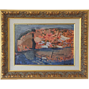 Abstract Harbor Scene by Lizzie Olson-Arle (1926-2006)