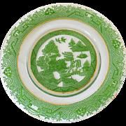 Cambridge Glass Co. Nanking green enamel willow etch plate