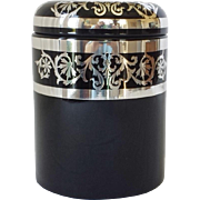 Cambridge Ebony Cigar Humidor With Silver Overlay Decoration
