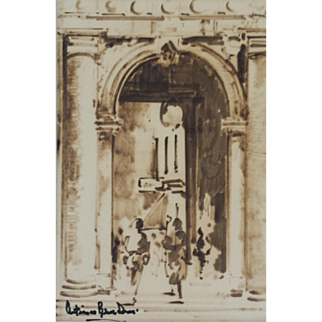 Lovely Rome Scene Sepia and Ink Drawing by Antimo Beneduce (1900-1975)