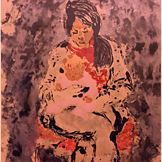 Sophie Fordon (American, ?-2006) Painting of Mother Holding an Infant