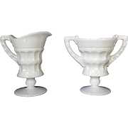 Cambridge Milk Glass Martha Washington Creamer and Sugar