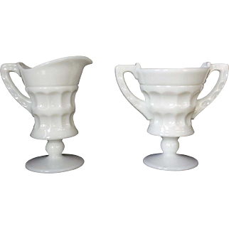 Cambridge Milk Glass Martha Washington Creamer and Sugar
