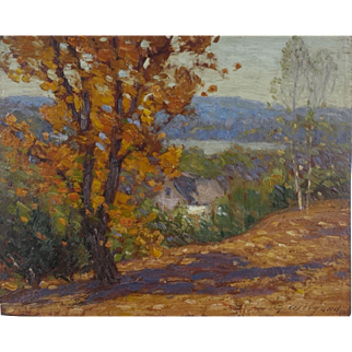Beautiful early oil on board by Gustave Wiegand (American, 1870-1957)