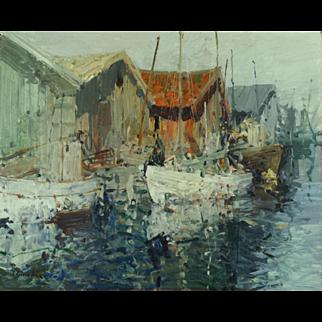 Beautiful impressionist harbor scene by Hugo Ofverstrom (1900-1972)