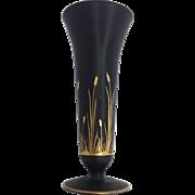 Tiffin Black Satin Vase with Gold Cattail Decoration