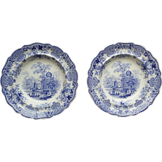 Beautiful Pair of Staffordshire Blue and White Transferware Bowls