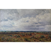 Expansive Late Victorian Landscape with Distant Cattle by Frederick Whitehead (1853-1938)