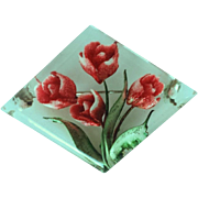 Vintage 1950's Lucite Pin With Tulips