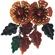 Whimsical Celluloid Pin With Flowers, 1930's - 1940's