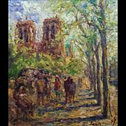 Dynamic Paris Scene of Notre Dame Booksellers by Einer Johansen (1893-1965)