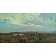 Atmospheric Landscape with Cattle by Frederick Whitehead (1853-1938)