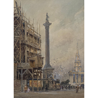 Trafalgar Square Watercolor and Gouache by Frederick Whitehead (1853-1938)