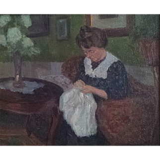 Sensitive Oil of Woman Sewing in an Interior by Christian Thornild (1884-1951)