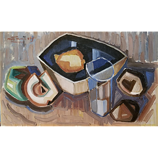 Bold Mid-Century Modern Still Life by Lembit Nõmmeots (Estonian, 1906-1985)