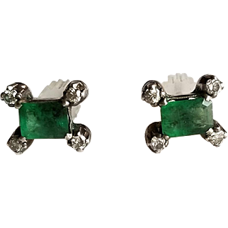 Pair of Vintage Diamond and Emerald Earrings with 14K White Gold Posts