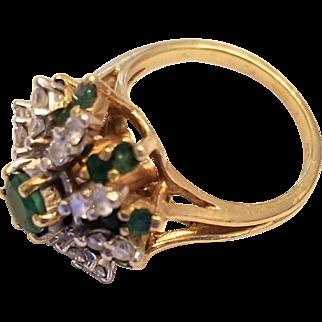 Vintage 14 Karat Gold, Emerald, and Diamond Cluster Ring