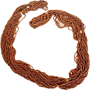 Fine Long Naga Bead Necklace in Scarce Copper Color