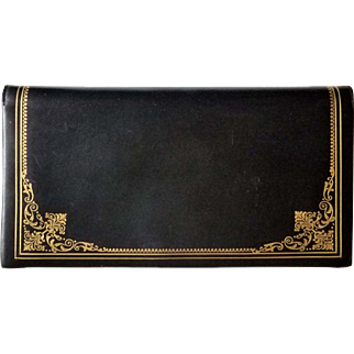 Elegant Gold Embossed Ladies Leather Clutch Purse