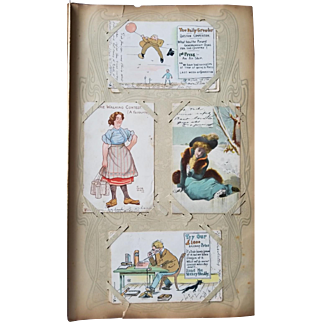 Wonderful British Edwardian Postcard Album Dated 1903