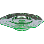 Green Depression Etched Glass Pedestal  Serving Plate Cake Plate