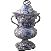 JAMES KENT Blue and White Scenic Ye Olde Foley Ware Urn with Lid