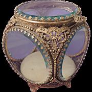 STYLEBUILT Vintage Ornate Gold Filigree Ormolu Jewelry Casket Trinket Box