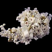 Vintage Wax Floral Wedding Bouquet / Wax Floral Bridal Bouquet / Wedding Collectibles