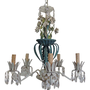 Vintage Italian Floral Tole Chandelier with Crystal Prisms / 5-Light Chandelier / French Country / Cottage Decor / Shabby Chic