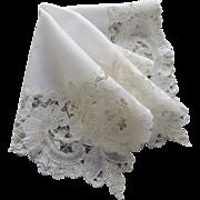 Vintage White Linen Bobbin Lace Bridal Wedding Hankie / White Bobbin Lace Hanky