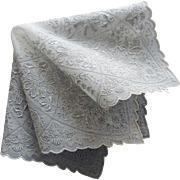 Embroidered White Linen Floral Appenzell Style Wedding Hankie / Bridal Hankie / Heavily Embroidered Hankie