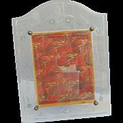 Vintage 8 x 10 Floral Etched Glass Photo Picture Frame / Large Frame