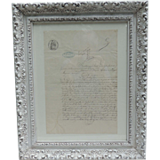 1800s Amtique Framed French Legal Document / Old French Land Deed Document