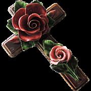 Antique French Rose Floral Ceramic Cross / Glazed Terracotta Rose Cross / Moument Cross / Decorative Wall Cross