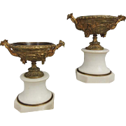 Pair of Ornate Antique Bronze and Marble French Urns with Grapes and Cherubs
