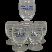 Vintage Set of 6 French Ricard Pastis Anisette Glasses / Ricard Goblets / Bistro Cafe / French Barware