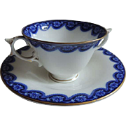 Antique ROYAL WORCESTER Flow Blue Bouillon Cream Soup Bowl & Saucer / Bouillon Cup and Saucer / SET of 5