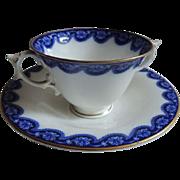 Antique ROYAL WORCESTER Flow Blue Bouillon Cream Soup Bowl & Saucer / Bouillon Cup and Saucer / SET of 5