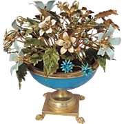 JANE HUTCHESON Vintage Jeweled Flowers and Blue Opaline Paw Footed Pedestal Urn ~ Fleurs des Siècles for Gorham