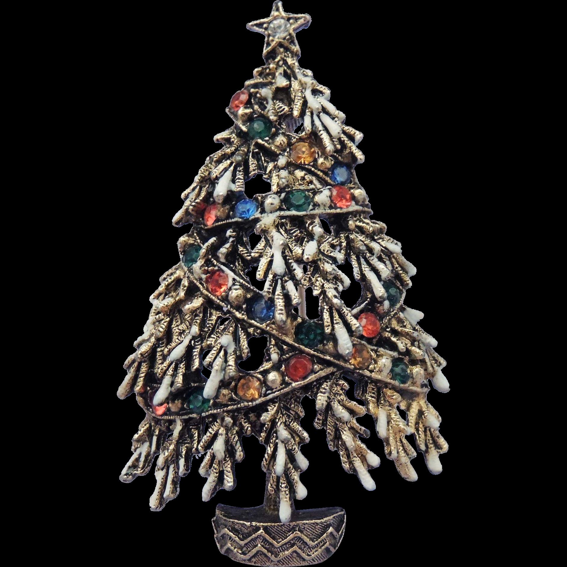 Christmas tree brooch enamel rhinestone quot garland from rubylane sold on