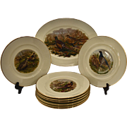 Vintage Game Bird Platter with 8 Plates by JKW Decor, Carlsbad, Bavaria