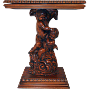 """Small Italian Baroque Table with Cherubs. Good for TV, Swivel Top, circa 1960s, 32.2"""" wide"""