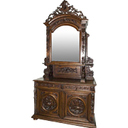 Hunt Cabinet with Exquisite Animal Carvings,19th Century Antique Tall Oak