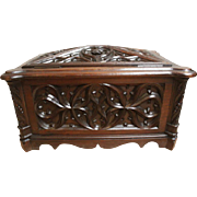 "Antique French Gothic Small Wooden Box or Trunk, Detail Carvings, 19th Century 17.5"" wide"