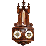 Antique Walnut French Gothic Clock and Barometer, 19th Century, Over 3 Ft Tall